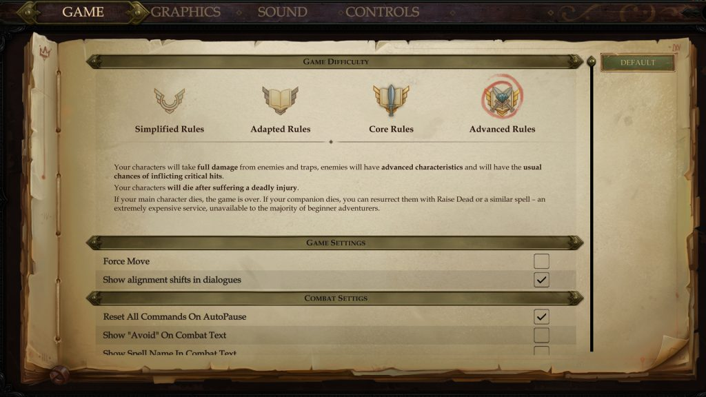 Pathfinder Kingmaker Ruleset Choice