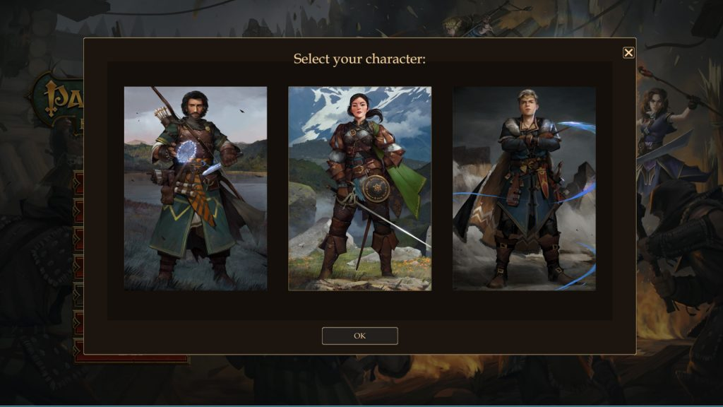 Pathfinder Kingmaker Character Creation Start Screen